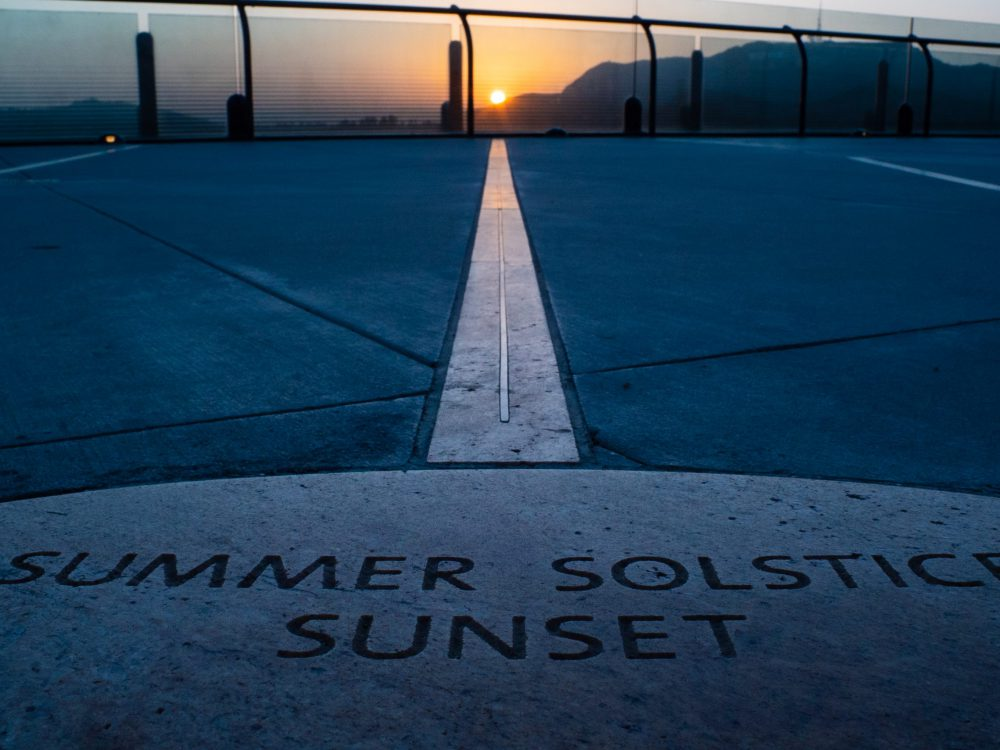 2020 Summer Solstice Line at Sunset.